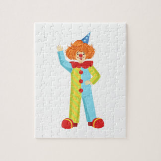 Colorful Friendly Clown In Party Hat Classic Outfi Jigsaw Puzzle