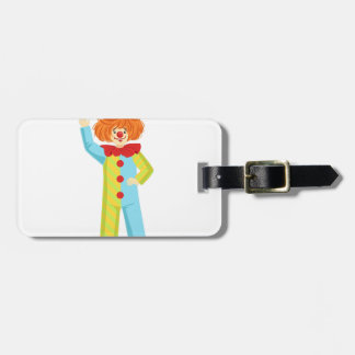 Colorful Friendly Clown In Party Hat Classic Outfi Luggage Tag