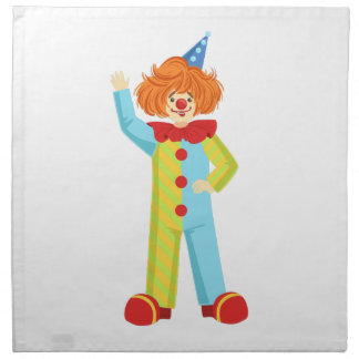 Colorful Friendly Clown In Party Hat Classic Outfi Napkin