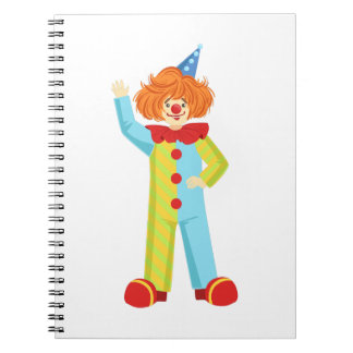 Colorful Friendly Clown In Party Hat Classic Outfi Notebook