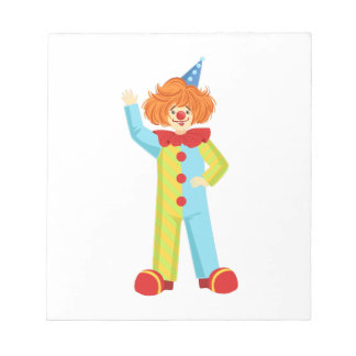 Colorful Friendly Clown In Party Hat Classic Outfi Notepad