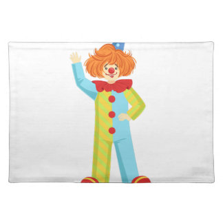 Colorful Friendly Clown In Party Hat Classic Outfi Placemat