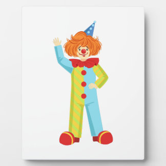 Colorful Friendly Clown In Party Hat Classic Outfi Plaque