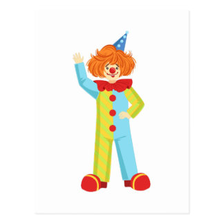 Colorful Friendly Clown In Party Hat Classic Outfi Postcard