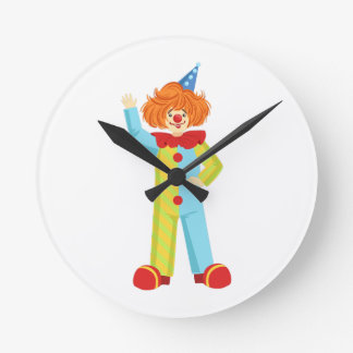 Colorful Friendly Clown In Party Hat Classic Outfi Round Clock