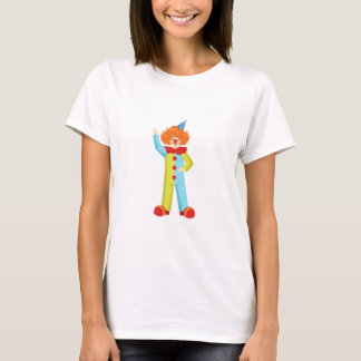 Colorful Friendly Clown In Party Hat Classic Outfi T-Shirt