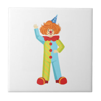 Colorful Friendly Clown In Party Hat Classic Outfi Tile