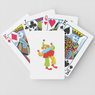 Colorful Friendly Clown In Ruffle To Classic Outfi Bicycle Playing Cards