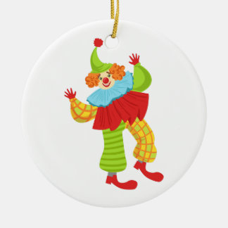 Colorful Friendly Clown In Ruffle To Classic Outfi Ceramic Ornament