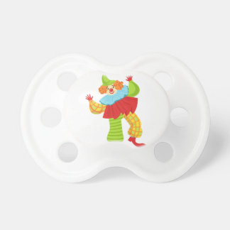 Colorful Friendly Clown In Ruffle To Classic Outfi Pacifier