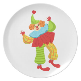 Colorful Friendly Clown In Ruffle To Classic Outfi Plate