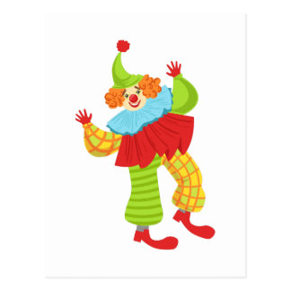 Colorful Friendly Clown In Ruffle To Classic Outfi Postcard