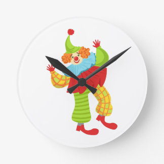 Colorful Friendly Clown In Ruffle To Classic Outfi Round Clock
