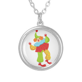 Colorful Friendly Clown In Ruffle To Classic Outfi Silver Plated Necklace