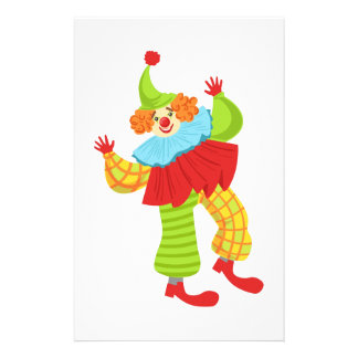 Colorful Friendly Clown In Ruffle To Classic Outfi Stationery