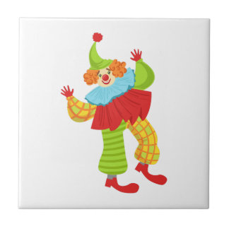 Colorful Friendly Clown In Ruffle To Classic Outfi Tile