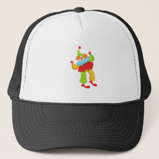 Colorful Friendly Clown In Ruffle To Classic Outfi Trucker Hat