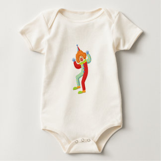 Colorful Friendly Clown Performing In Classic Outf Baby Bodysuit
