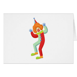 Colorful Friendly Clown Performing In Classic Outf Card