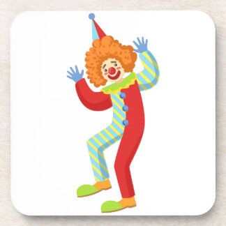Colorful Friendly Clown Performing In Classic Outf Coaster