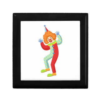 Colorful Friendly Clown Performing In Classic Outf Gift Box