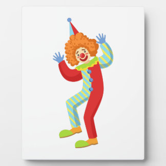 Colorful Friendly Clown Performing In Classic Outf Plaque