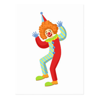 Colorful Friendly Clown Performing In Classic Outf Postcard