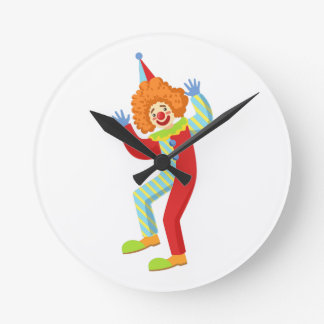 Colorful Friendly Clown Performing In Classic Outf Round Clock