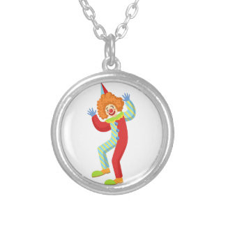 Colorful Friendly Clown Performing In Classic Outf Silver Plated Necklace