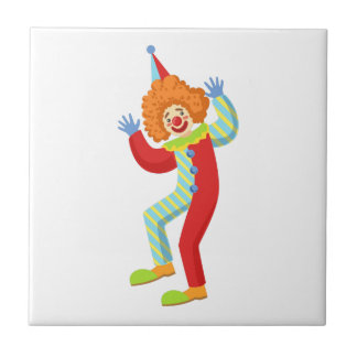 Colorful Friendly Clown Performing In Classic Outf Tile