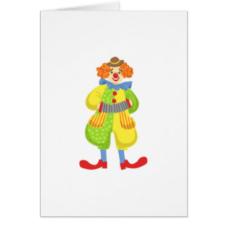 Colorful Friendly Clown Playing Accordion In Class Card