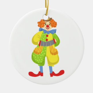 Colorful Friendly Clown Playing Accordion In Class Ceramic Ornament