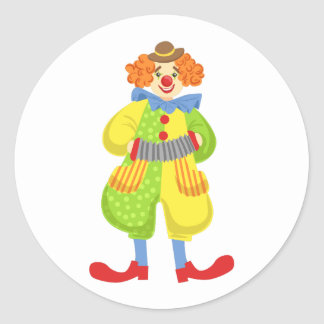 Colorful Friendly Clown Playing Accordion In Class Classic Round Sticker