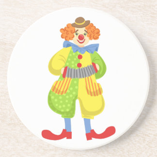 Colorful Friendly Clown Playing Accordion In Class Coaster