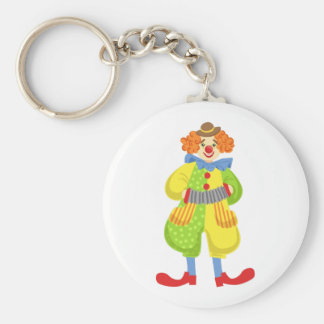 Colorful Friendly Clown Playing Accordion In Class Keychain