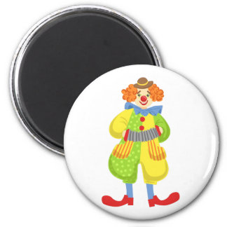 Colorful Friendly Clown Playing Accordion In Class Magnet