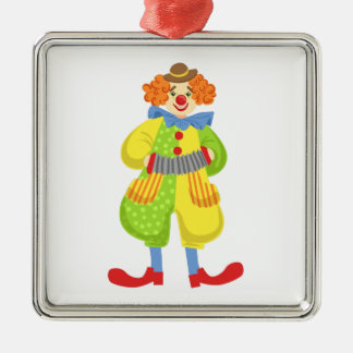 Colorful Friendly Clown Playing Accordion In Class Metal Ornament