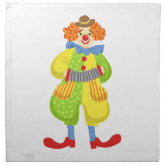 Colorful Friendly Clown Playing Accordion In Class Napkin