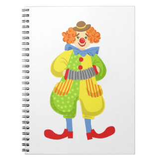 Colorful Friendly Clown Playing Accordion In Class Notebook