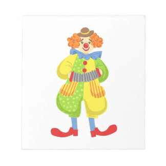 Colorful Friendly Clown Playing Accordion In Class Notepad