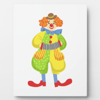 Colorful Friendly Clown Playing Accordion In Class Plaque