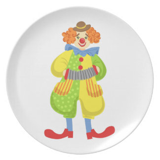 Colorful Friendly Clown Playing Accordion In Class Plate