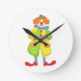 Colorful Friendly Clown Playing Accordion In Class Round Clock