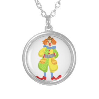 Colorful Friendly Clown Playing Accordion In Class Silver Plated Necklace