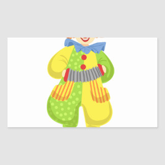 Colorful Friendly Clown Playing Accordion In Class Sticker