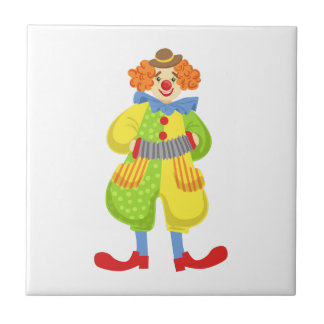 Colorful Friendly Clown Playing Accordion In Class Tile