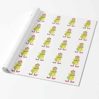 Colorful Friendly Clown Playing Accordion In Class Wrapping Paper