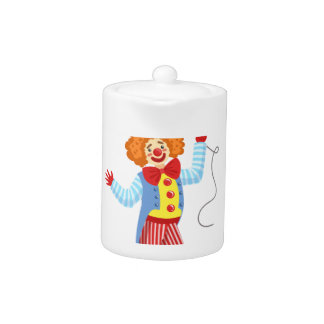 Colorful Friendly Clown With Balloon In Classic Ou