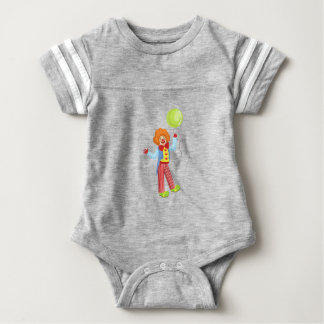 Colorful Friendly Clown With Balloon In Classic Ou Baby Bodysuit