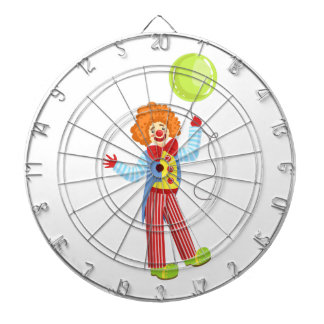 Colorful Friendly Clown With Balloon In Classic Ou Dartboard